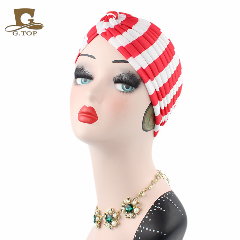 NEW striped pattern Pleated Stretch Turban Head Cover Hair Wrap indian Hat women cap