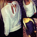 Mujeres Sexy Ladies Backless Hueco Suéter de Manga Larga Pullover Jumper Blusa Superior