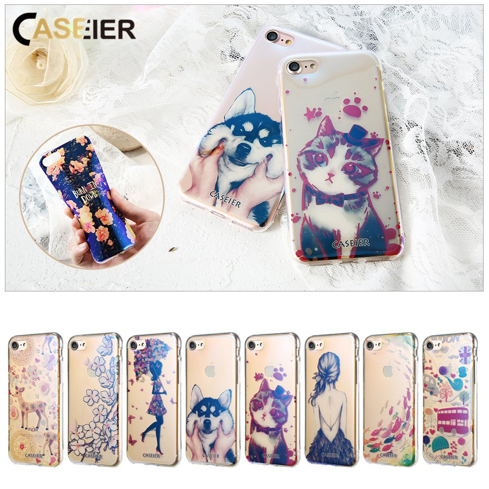 CASEIER Patterned Phone Case For iPhone 7 8 Plus Cute Dog Cover Blue-Ray Luxury Capinha Colorful Cat Funda Capa