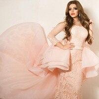 Charming O Neck Transparent Sleeve Mermaid Evening Dresses Lace Floor Length Prom Gown Vestidos De Noche