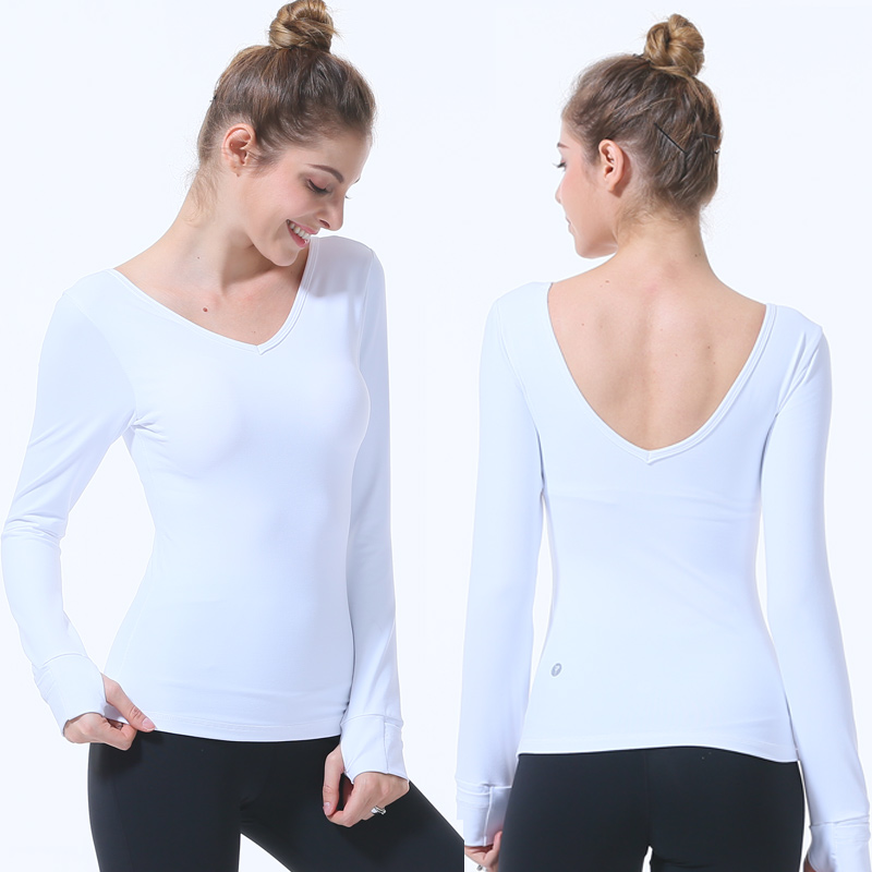 95e1b8ac4253a Detail Feedback Questions about Women sport T shirt Yoga Top Professional Sexy  Shirts Fitness Crop Long Sleeve Solid Running sports bra camiseta mujer sky  ...