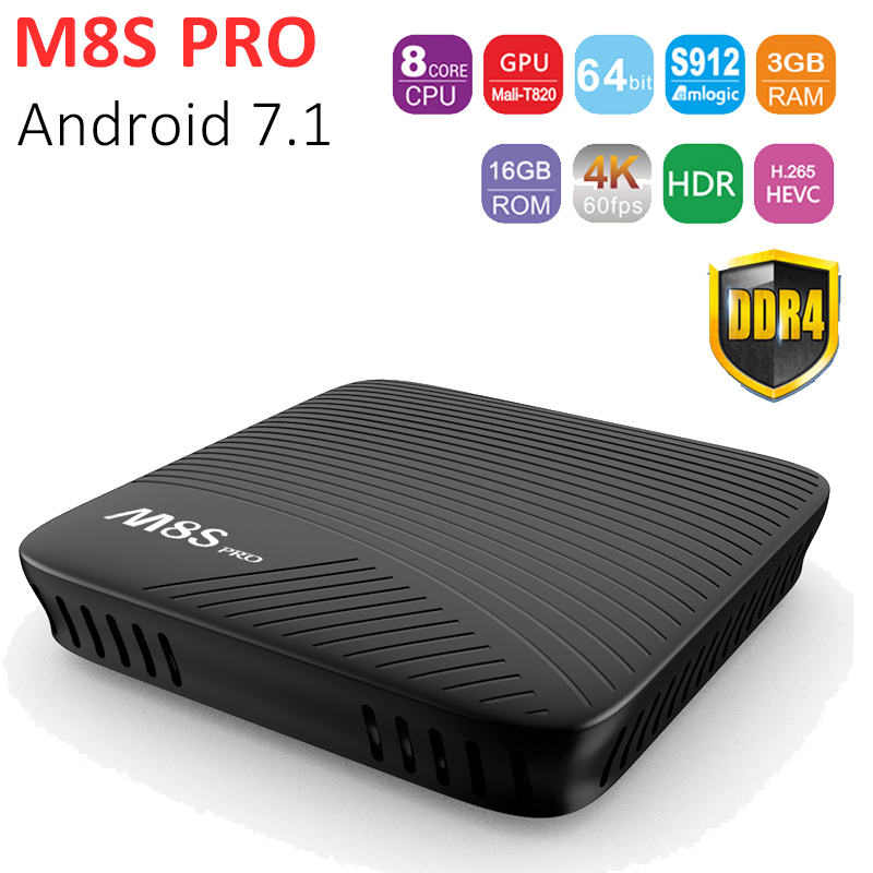 M8S Pro Android TV BOX Android 7.1 Amlogic S912 Octa core 3GB/16GB Smart Media Player 2.4G/5G Dual WiFi Bluetooth 4.0 UDH 4K zidoo x6 pro octa core smart android 5 1 tv box hd 4k 3d 2gb 16gb h8 m8s network media player hdmi 2 0 bluetooth 4 0 dual wifi