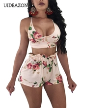 New Floral Print Sexy 2 Piece Set Women Cami Crop Top And Sh