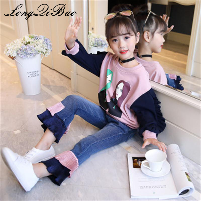 Baby girl autumn 2018 new children's clothing fashion stitching set Korean version of the tide clothing in the big boy two-piece kimocat boy and girl high quality spring autumn children s cowboy suit version of the big boy cherry embroidery jeans two suits