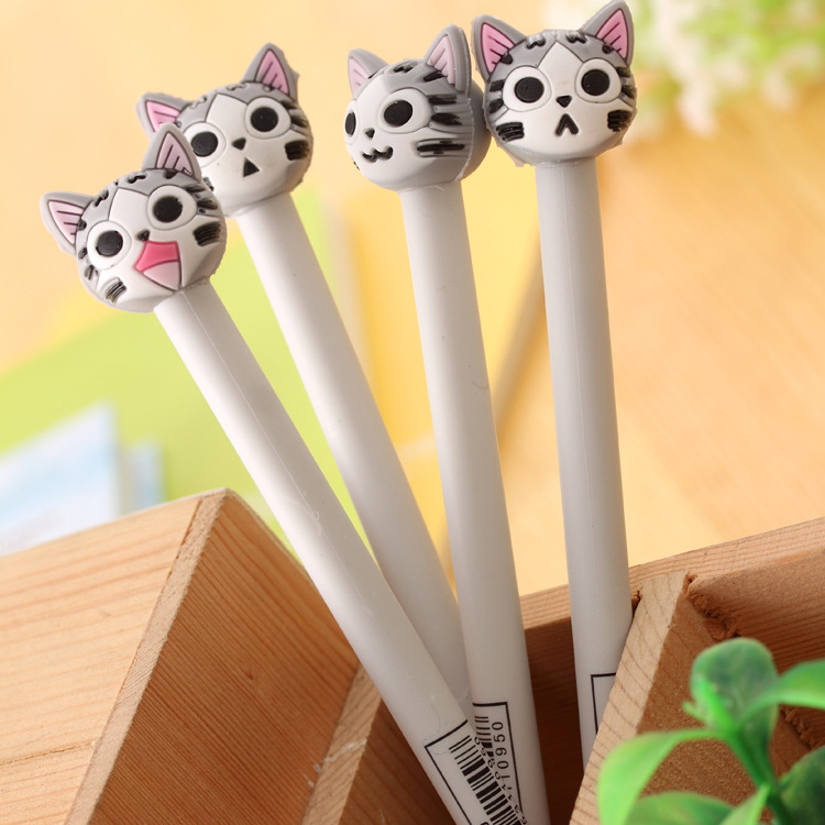 цены 4pcs/lot 0.5mm New Arrival Cute Cheese Cat Gel Ink Pen Promotional Gift Stationery School & Office Supply FOD