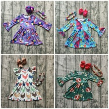 new spring troll chick yard floral princes milk silk dress baby girls boutique children clothes long sleeve match bow & necklace(China)
