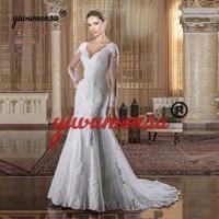 Vestidos De Novias Long Sleeves Vintage Wedding Dress Plus Size Mermaid Wedding Gown Appliques Robe Mariage 2019 Bridal Dresses