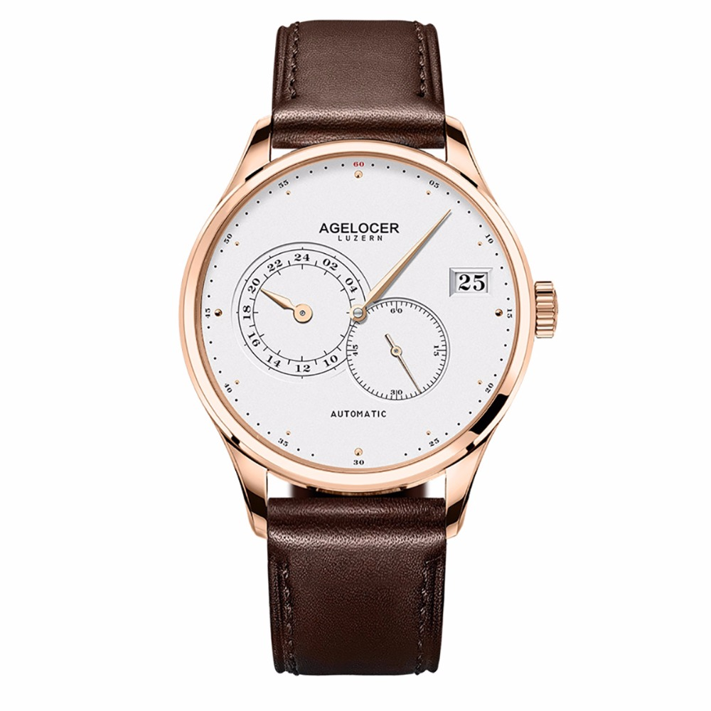 Agelocer Top Brand Luxury Rose Gold Ultra Thin Watches Brown Leather Strap Analog Automatic Watches relogio masculino 5102D2Agelocer Top Brand Luxury Rose Gold Ultra Thin Watches Brown Leather Strap Analog Automatic Watches relogio masculino 5102D2