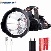Faro delantero LED de 7500 lúmenes, recargable por USB, luz LED súper brillante Hardhat, lámpara de cabeza de sombrero duro, uso potente, 18650