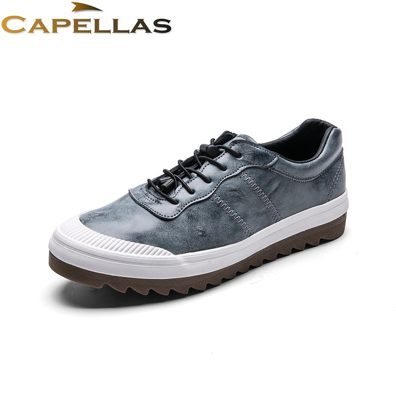 CAPELLAS Spring Autumn Men Leather Shoes Fashion Brand Shoes Mens Leather Casual Shoes for Men Shoes Zapatos Hombre 39-44 autumn leather mens outdoor men canvas shoes mens casual shoes lace up mens men trainers zapatillas zapatos hombre