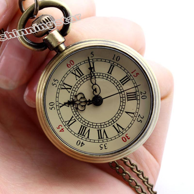 Men Women Vintage Bronze Steampunk Roman Numerals Quartz Pocket Watch Necklace Pocket & Fob Watches Chain Clock Relogio De Bolso