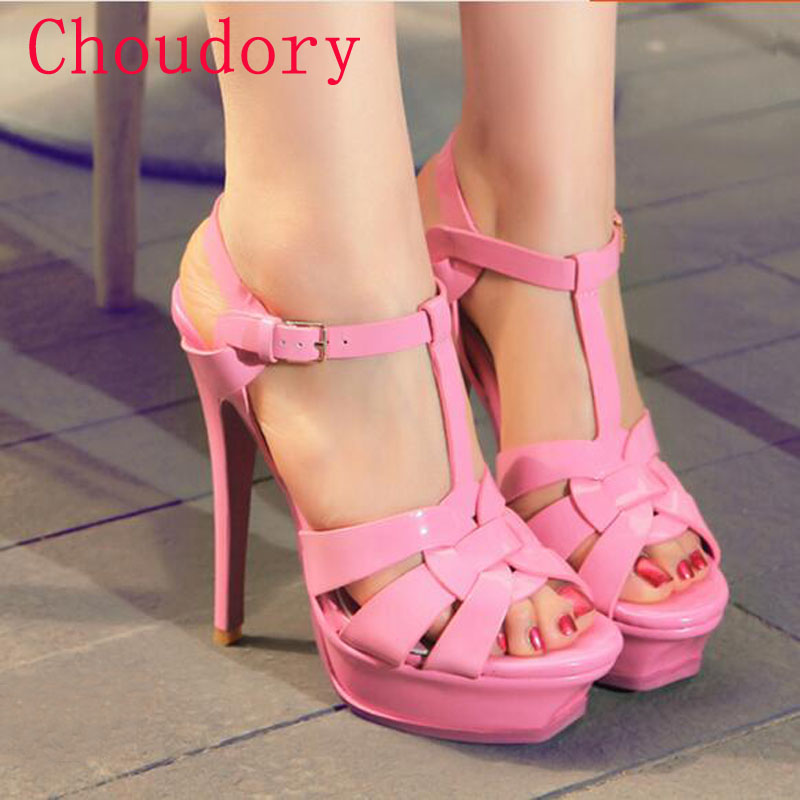 Choudory 2017 Summer Woman Gladiator Sandals Hot Sale Cut-out Wedge Leather Runway Shoes Woman High Heels Platform Dress Pumps choudory bohemia women genuine leather summer sandals casual platform wedge shoes woman fringed gladiator sandal creepers wedges