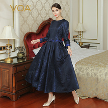 VOA 2017 Fall Fashion Vintage Chinese Style Navy Blue Dress Plus Size Heavy Silk High Waist Women Maxi Long Dress ALX16001
