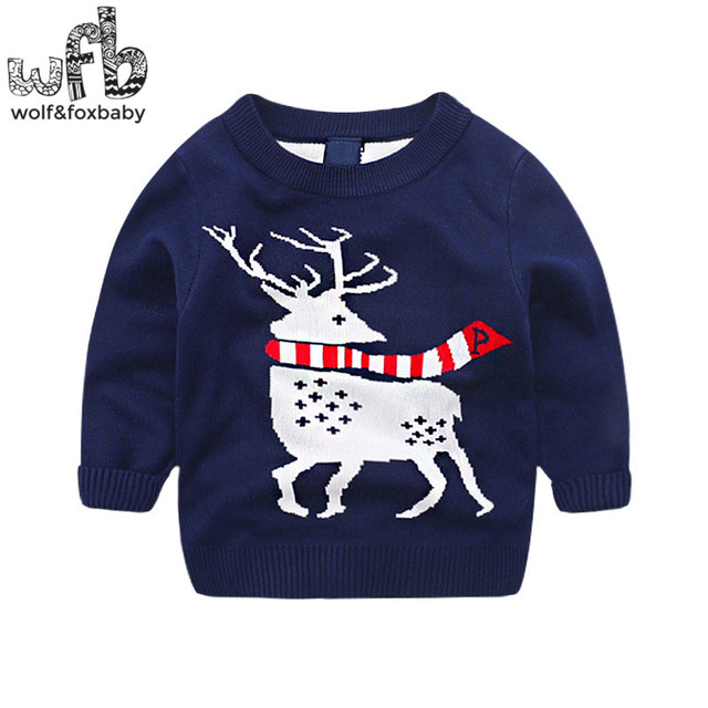 Retail 2-8years knitted sweaters cartoon deer baby kids children Clothes Infant Garment spring autumn fall
