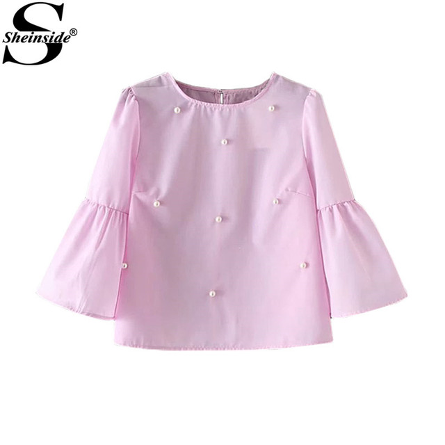 Aliexpress.com : Buy Sheinside Pearls Embellished Tops Pink Women ...