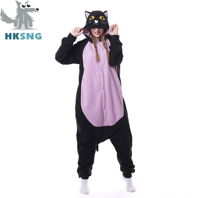 hksng new adult animal midnight cat cosplay costumes ghost cat pajamas cartoon kigurumi onesies christmas gift