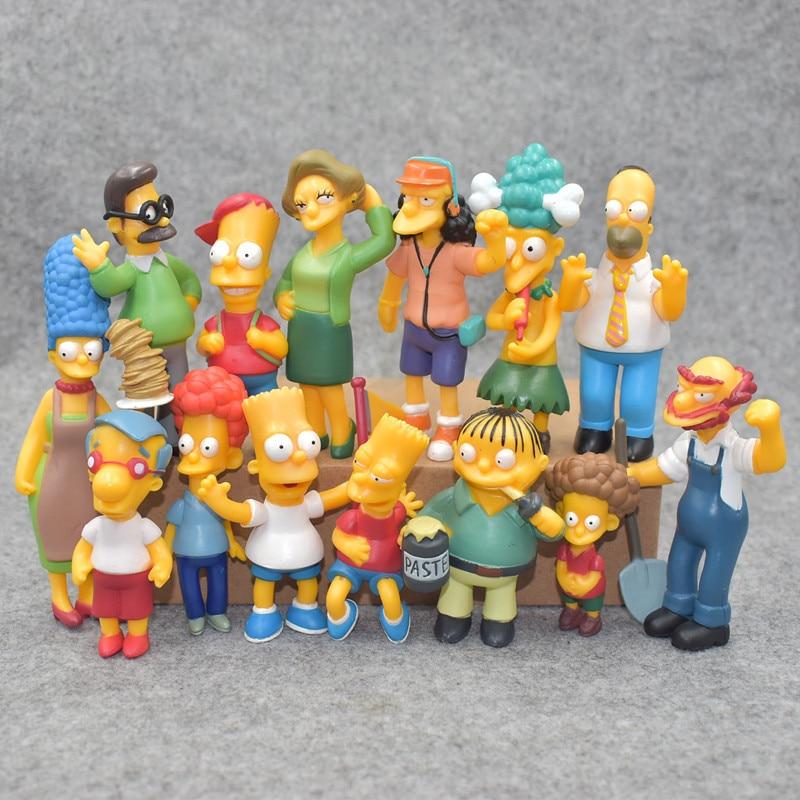 Anime Toy 14pcs/set Family Simpsons PVC Figures Collectible Model Toys