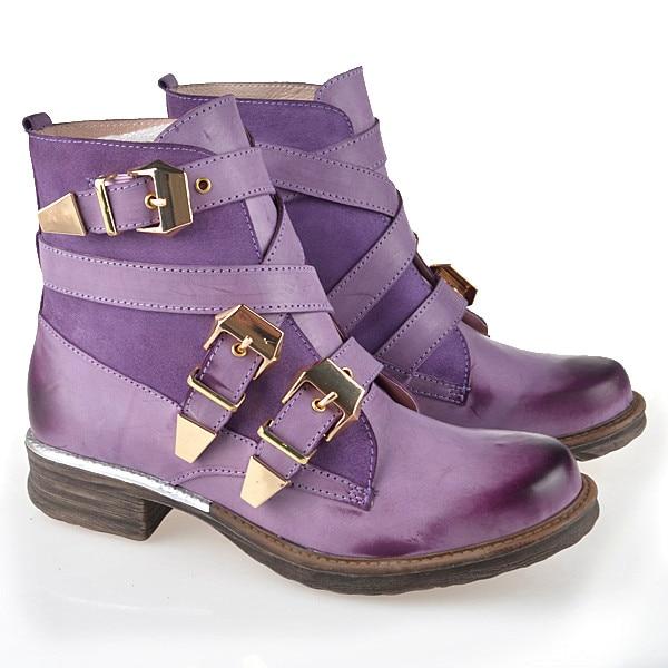 Martin Feminina Azul Las púrpura Azul Zapatos De Púrpura Cuero Británica Gladiador Mujeres Botines Auténtico Moda Bota Corto Atado Invierno AZwfARU7q