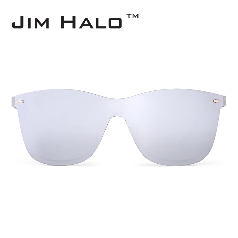 Jim Halo Mirrored Rimless Integrated Mirror Polycarbonate Lens Sunglasses Women Men One  ...