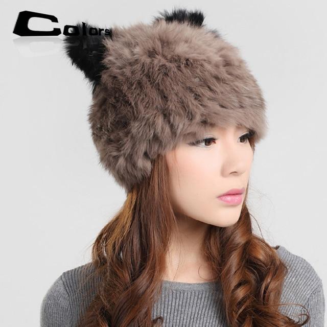 2015 New winter women beanie hat female real rex rabbit cap lovely panda skullies hats for woman