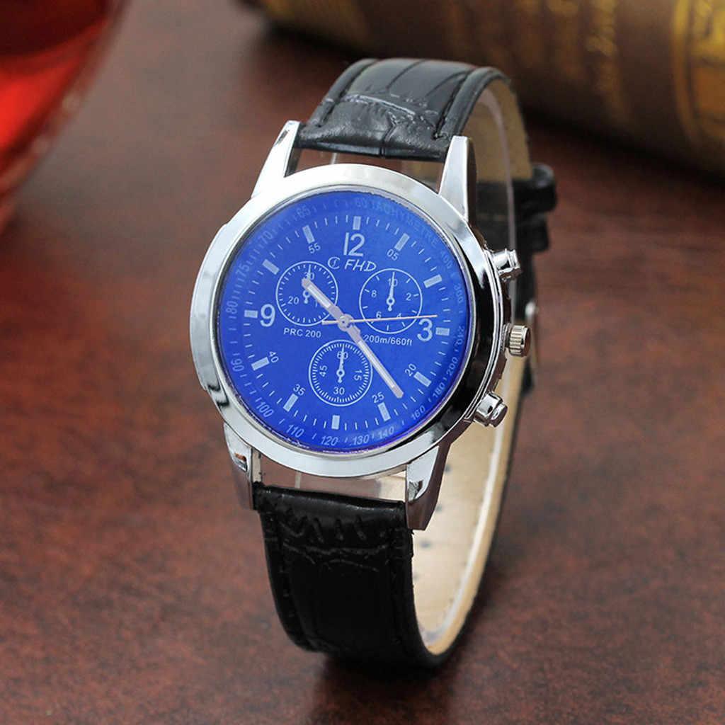 Blu Ray זכוכית שעון ניטראלי קוורץ מדמה את שעון יד גברים של שעון יד מסיבת קישוט עסקי שעון gif עבור זכר איש