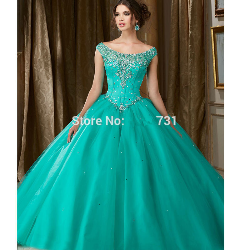 Mint Green Puffy Cheap Quinceanera Dresses 2019 Ball Gown Tulle Beaded Pearls Sweet 16 Dresses