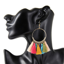 5pieces/Lot Tassel Earrings For Women Ethnic Big Drop Bohemia Fashion Jewelry Trendy Cotton Rope Fringe Long Vintage