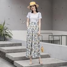 Новые летние широкие брюки женщины шифон высокой талией брюки Casua печать свободные прямые брюки Лучший!
