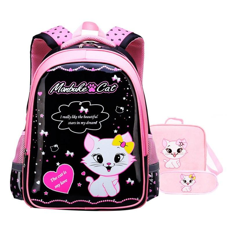 Waterproof Children School Bags Girls Schoolbag Primary Cartoon Cat School Backpack Kids School Backpack Set Mochila Infantil