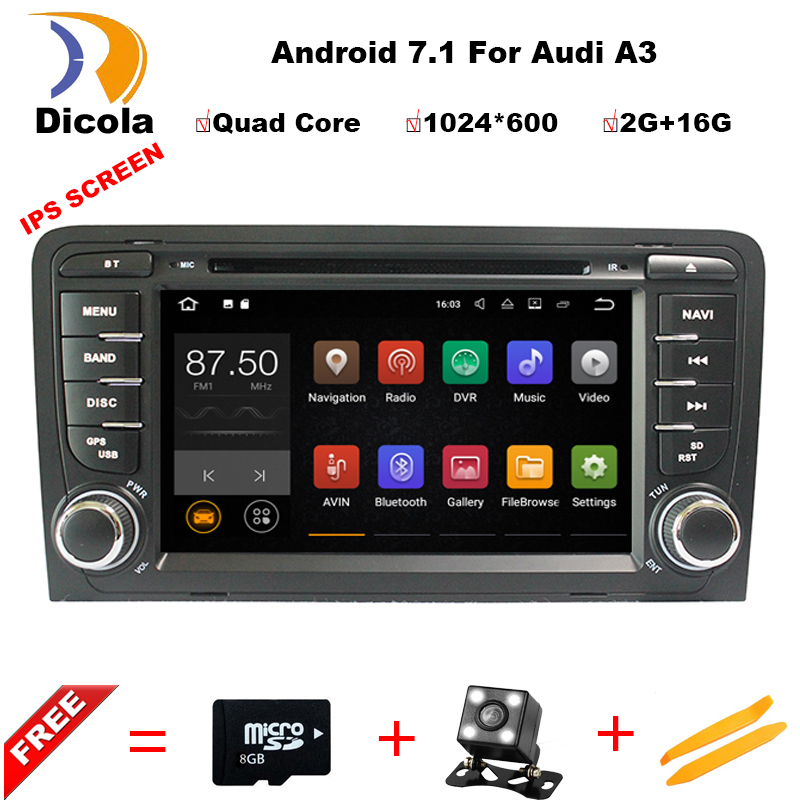 2GB RAM Android 7.1 Car DVD player Radio For Audi A3 2002-2011 Car GPS Multimedia Navigation With Canbus WiFi 4G Navigation Maps цена