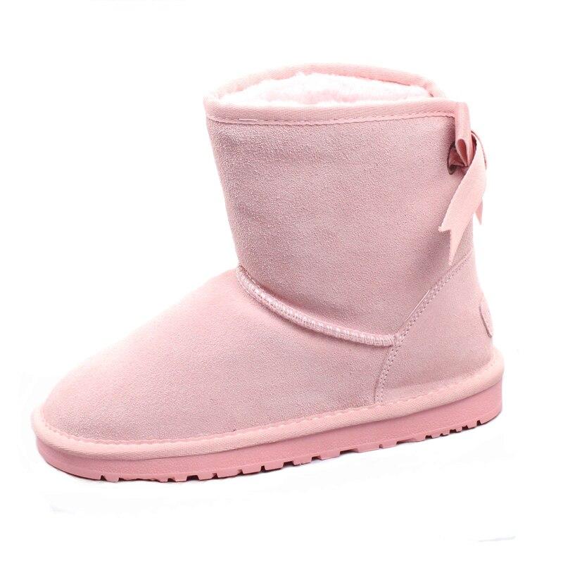 Nieve azul Cuero Zapatos Negro khaki Caliente Lindo Cielo marrón gris Invierno Brown rosado rojo brown Macarons Botas lavanda azul Nuevo Japonés Arco Gruesa Algodón De Estudiante powder 2018 7nZa0
