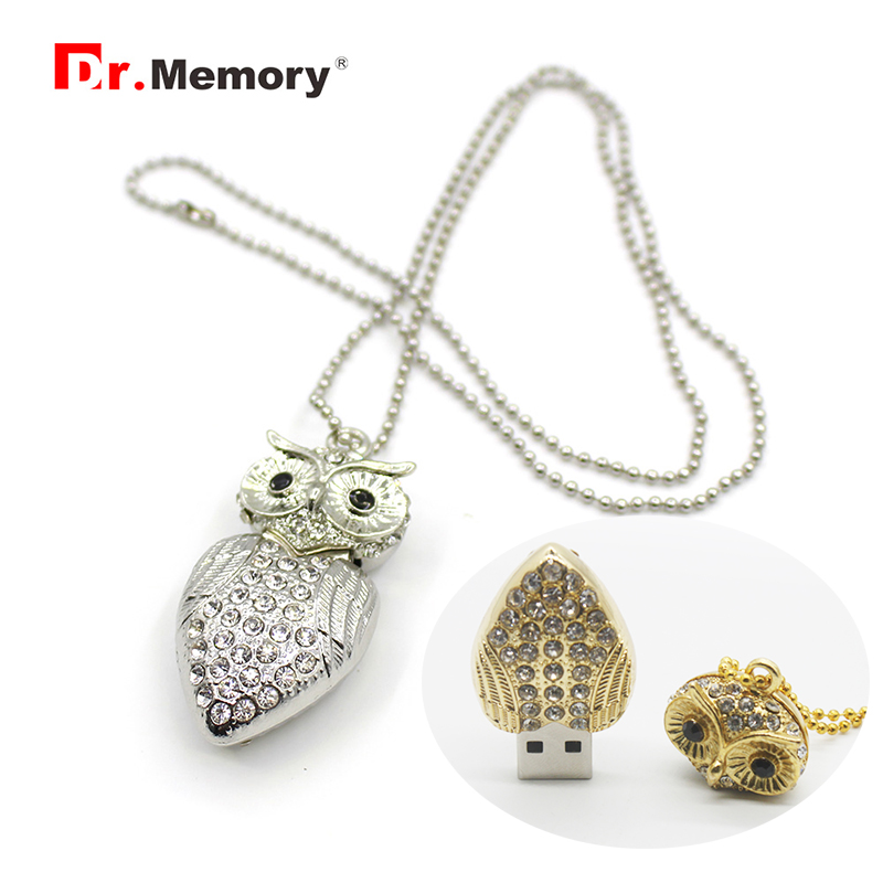 Luxury Owl Metal USB2.0 Flash Drives Cartoon USB Memory Stick U Disk 4GB 8GB 16GB 32GB Crystal Pendrive Personalized Pen Drive