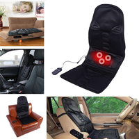 Autoleader 12V Black Polyester Cloth Massage Cushion Electric Back Neck Massage Chair Seat Relaxation For Car Home Office