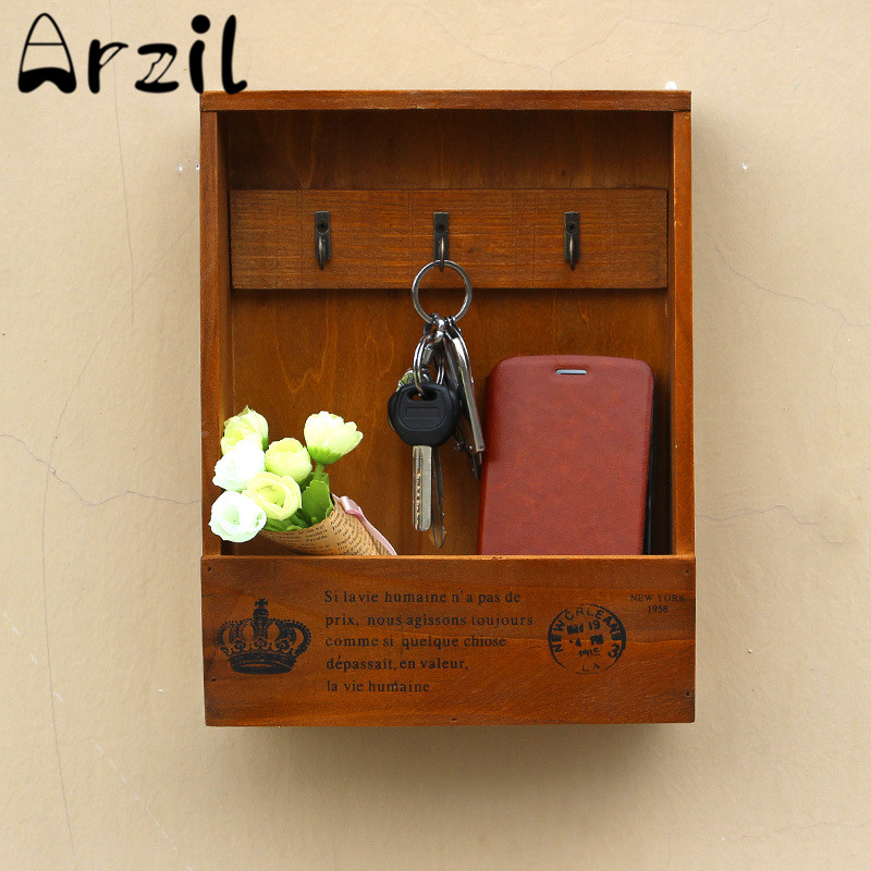 Hanging keys storage wood box sundries key hooks zakka for Retro home decor