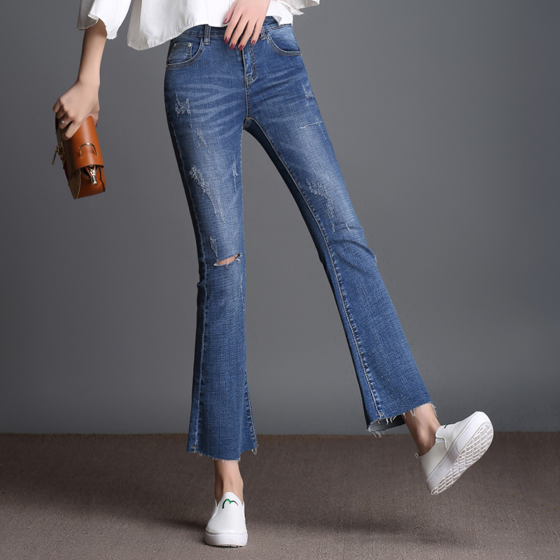 Womens jeans Flare Spring New Hole Denim Pencil Pants Ankle Length Plus Size Stretch Slim Ripped jeans Woman 2017 High Quality rosicil new women jeans low waist stretch ankle length slim pencil pants fashion female jeans plus size jeans femme 2017 tsl049