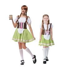 Umorden Green Bavarian Oktoberfest Costumes for Women Teen Girls German Beer Wench Waiter Cosplay Fancy Dresses Family