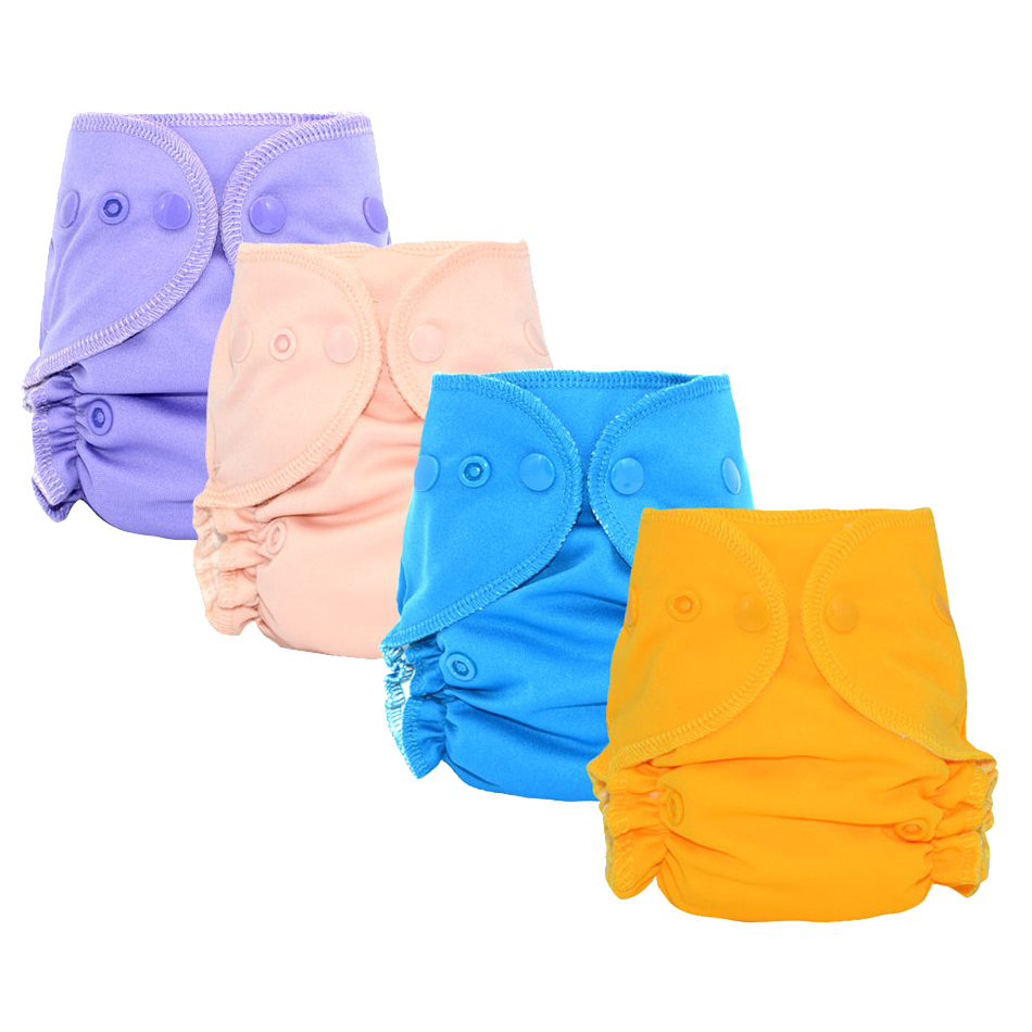 Miababy Miababy Bamboo Cotton Newborn Fitted Diaper With Waterproof And Breathable PUL Outer