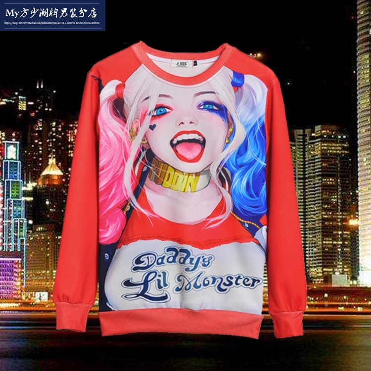 Free shipping new High Quality Suicide squad Harajuku Hoodie Sweatshirt Cosplay Costume 01