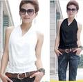 2016 Estilo Verão Mulheres Tops Halter Pescoço Strapless Branco E Preto Sexy Desgaste Do Escritório Camiseta Regatas Vest AC-021