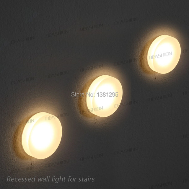Round acrylic semi recessed wall step light for stairs decorative round acrylic semi recessed wall step light for stairs decorative interior exterior pathway walkway stairway lighting mozeypictures Choice Image