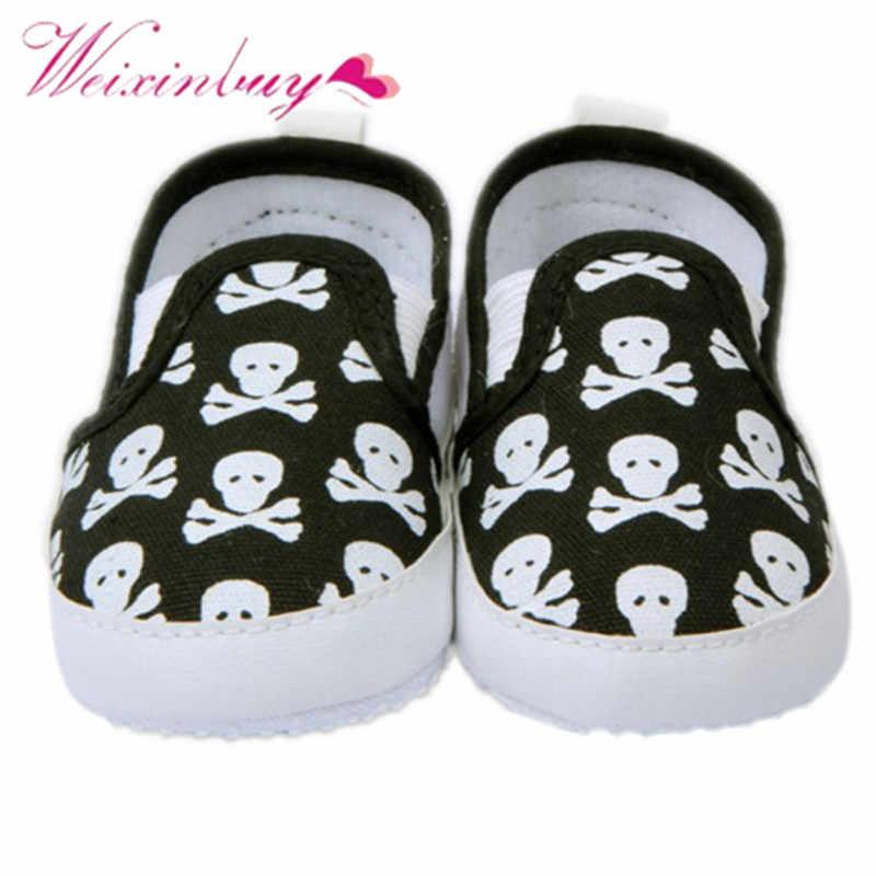 2017 المتسكعون 0-12 متر الطفل أحذية الاطفال صبي فتاة طفل الجمجمة لينة وحيد المضادة للانزلاق حذاء رياضة 1 زوج الانزلاق على أحذية