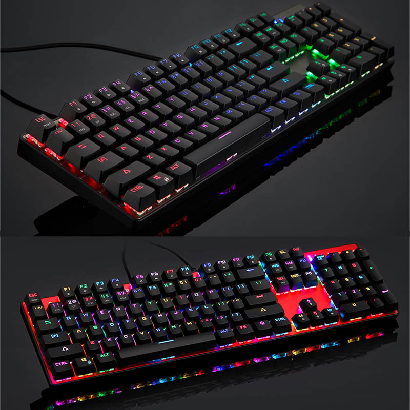 USB Wired Mechanical English and Russian Keyboard 104 Keys LED RGB Backlight Gaming Keyboards Suit for Computer XXM8