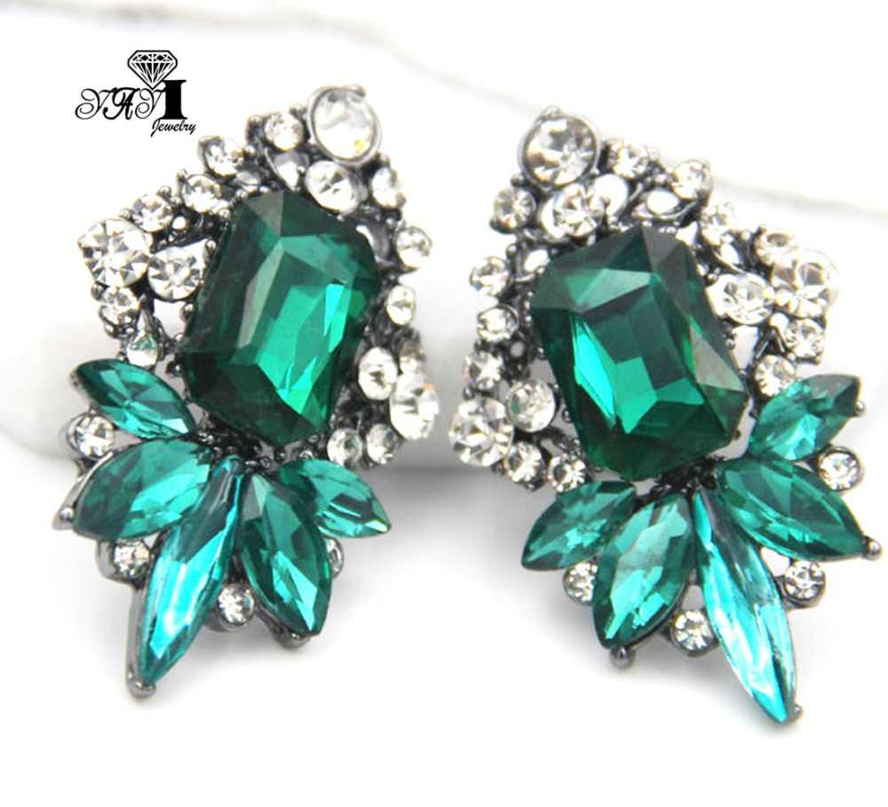 YaYi Jewelry Green Glass  Rhinestone Dangle Crystal Earring Women's Fashion Ancient Silver Color Gem Long Earrings Gift 1260
