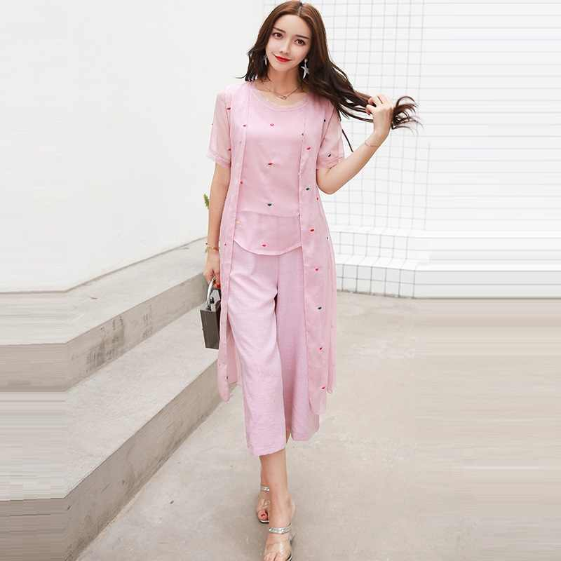 b1120e231e987 3 Piece Set Women Vest + Long Cardigan + Wide Leg Pants Suits 2019 New  Summer Elegant Embroidery Loose Pant Suit Sets