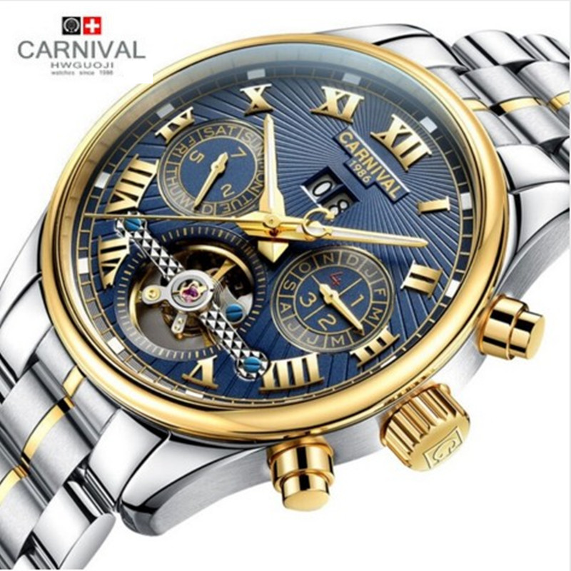 Carnival tourbillon diving sport fashion mechanical watch men leather strap wrist watches luxury brand clock relogio reloj uhren casual leisure sport men s mechanical wrist watch leather strap tourbillon calendar display luminous night light big crown