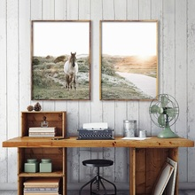 Modern Animal Horse And Beautiful Landscape Canvas Painting Print Poster Picture Home Wall Art Decoration Can Be Customized