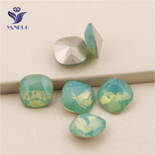 YANRUO  4470 All Sizes Pacific Opal Cushion Cut Glass Crystal Stones Point  Back Setting Loose f9a8b773a0d9