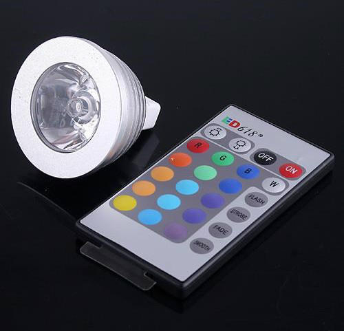 DHL Free shipping 50pcs/Lot 3W RGB LED Bulb MR16 16 Color changing Spotlight Light Lamp 12V + Remote controller dhl ems free shipping 12pcs lot 20w cree cob led track light for shops gallary lighting