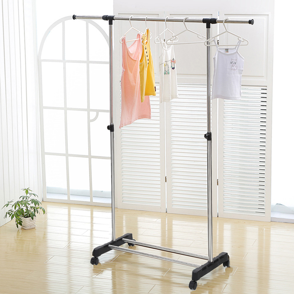 ikayaa us stock metal height adjustable coat clothes garment hanging rack width extendable clothes display organizer
