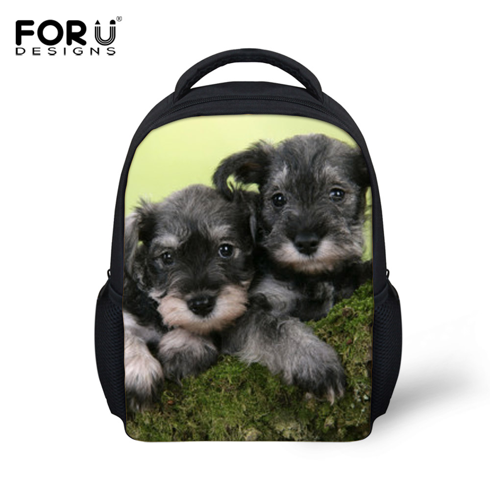FORUDESIGNS Fashion Children School Bags For Little Kids Cute 3D Schnauzer Dog Child Schoolbag Book Backpacks Mochilas Infantil